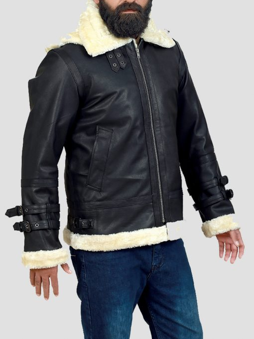 B3 Shearling Bomber Hooded Leather Jacket