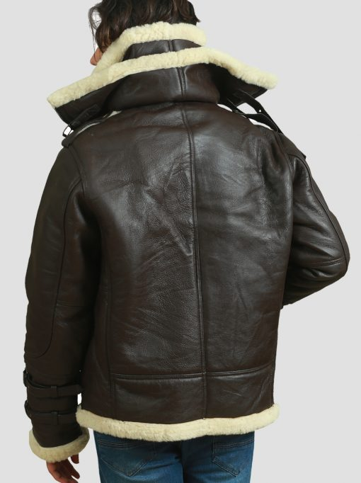 Mens Bomber Shearling Leather Jacket