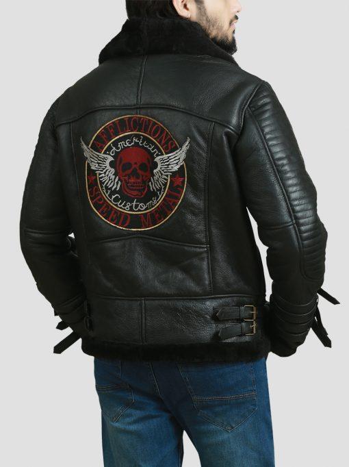 Men B3 Dark Brown Real Shearling Bomber Leather Jacket