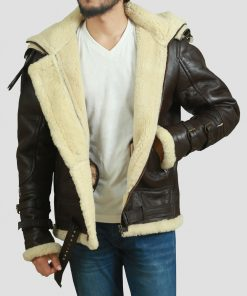Mens Shearling Flying Bomber Jacket