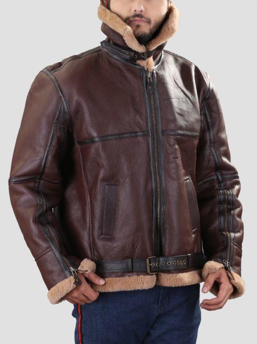 B3 Brown Mens Shearling Jacket