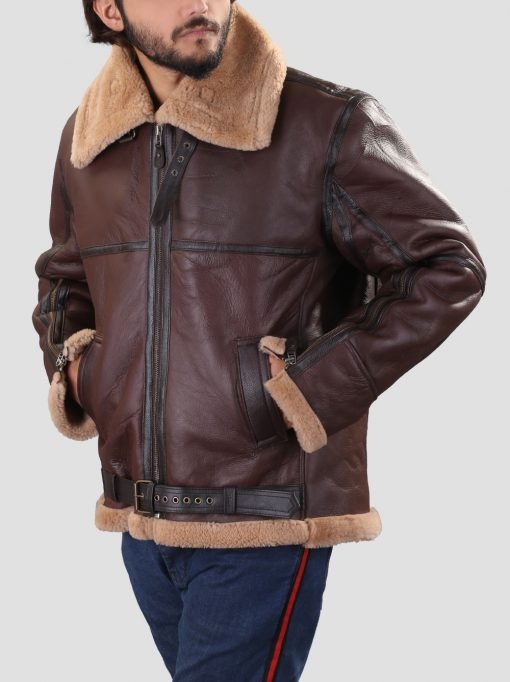 Mens B3 Brown Shearling Leather Jacket