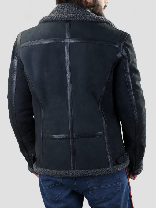 Mens Black Faux Shearling Leather Jacket
