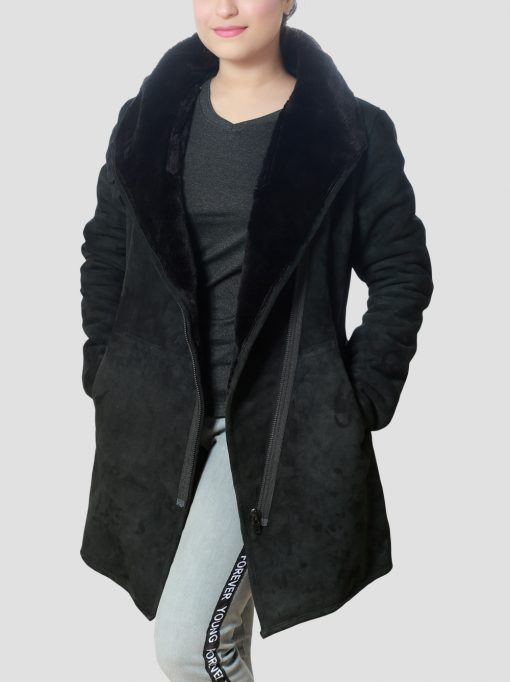 Debra Womens Sheepskin Leather Shearling Black Coat with Belted Collar