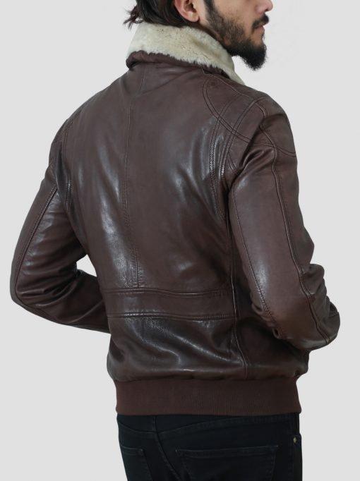 Brown Mens Fur Collar Jacket