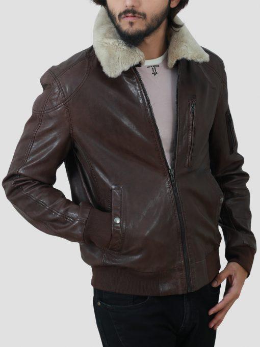 Jackson Mens Brown Shearling Collar Jacket