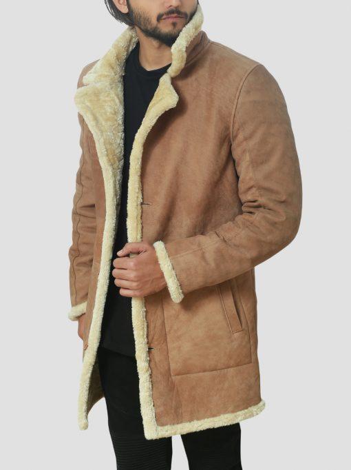 James Brown Leather Sheepskin Shearling Coat