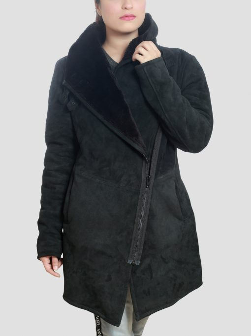 Black Womens Shearling Coat