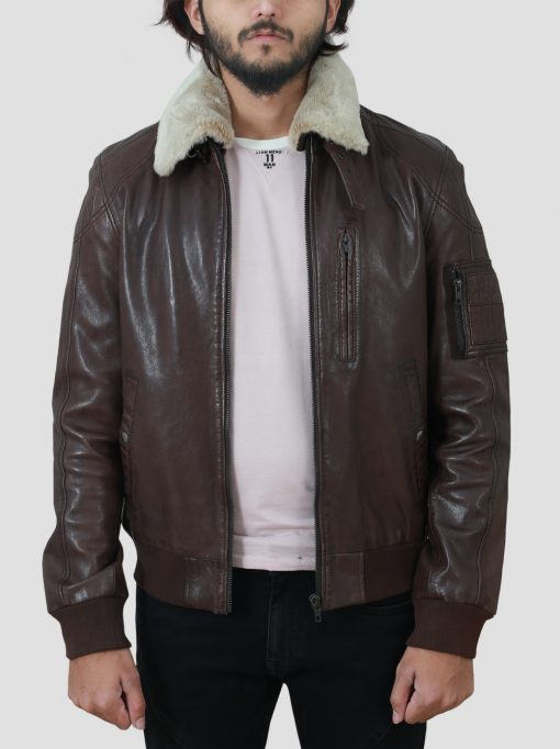 Mens Brown Leather Shearling Jacket