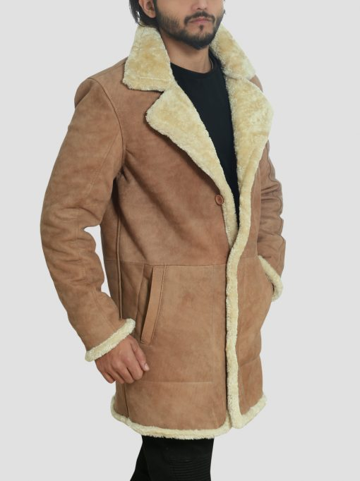 Brown Mens Leather Shearling Coat