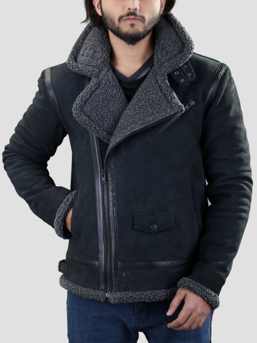 Mens Black Shearling Jacket