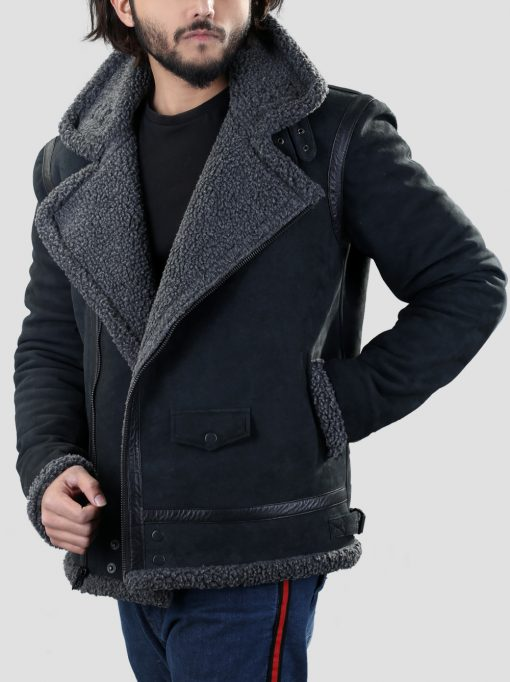 Romba Mens Belted Black Faux Shearling Jacket