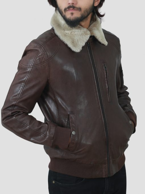 Mens Shearling Collar Brown Leather Jacket