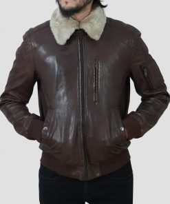 Mens Shearling Collar Jacket