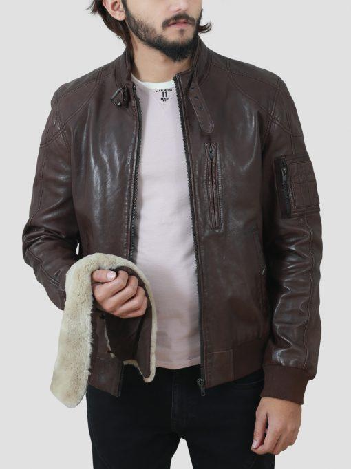 Brown Detachable Collar Jacket