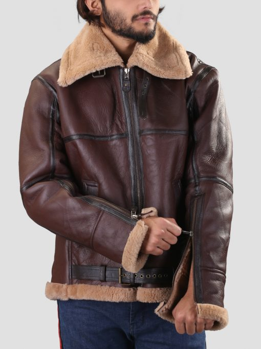 WW2 B3 Bomber Real Shearling Brown Leather Jacket