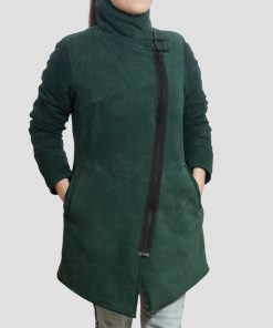 Regina Sheepskin Leather Green Shearling Coat for Women