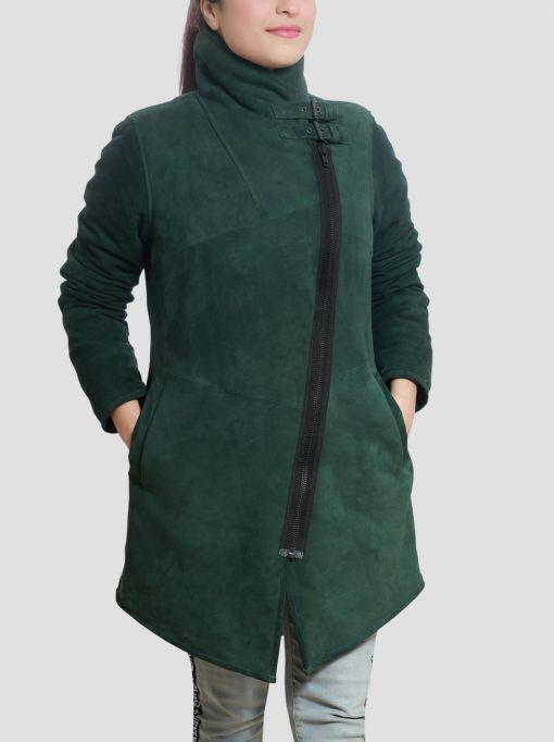 Regina Sheepskin Leather Green Shearling Coat for Women