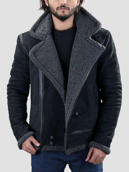 Black Mens Shearling Leather Jacket