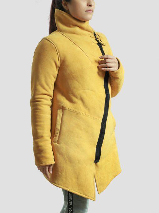 Sheepskin Yellow Shearling Leather Coat for Womens