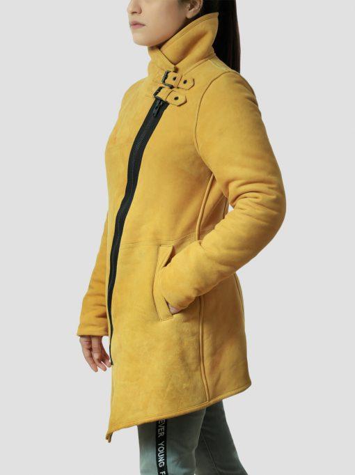 Sheila Sheepskin Leather Shearling Yellow Coat