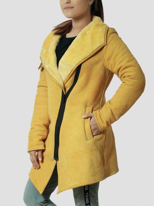 Womens Cross Zip Shearling Leather Coat