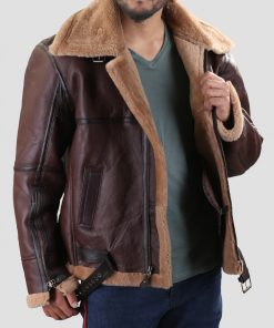 WW2 Mens Bomber Shearling Leather Jacket