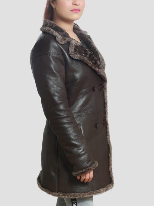Brown Womens Shearling Coat