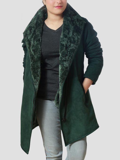 Womens Sheepskin Leather Green Shearling Coat