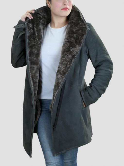 Womens Grey Leather Shearling Coat