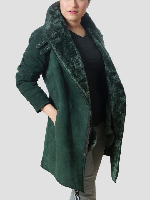 Womens Green Shearling Leather Coat