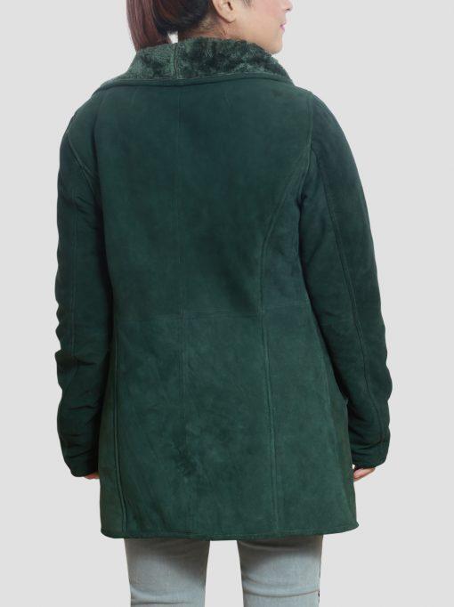 Womens Regina Green Shearling Coat