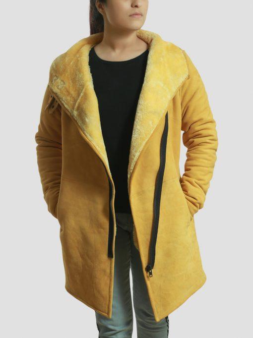 Sheila Sheepskin Leather Shearling Yellow Coat for Women