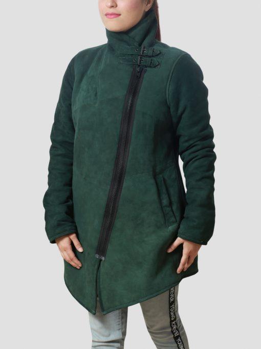 Regina Sheepskin Leather Green Shearling Coat