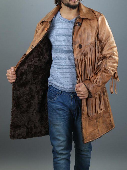 Western Leather Jacket with Fringe